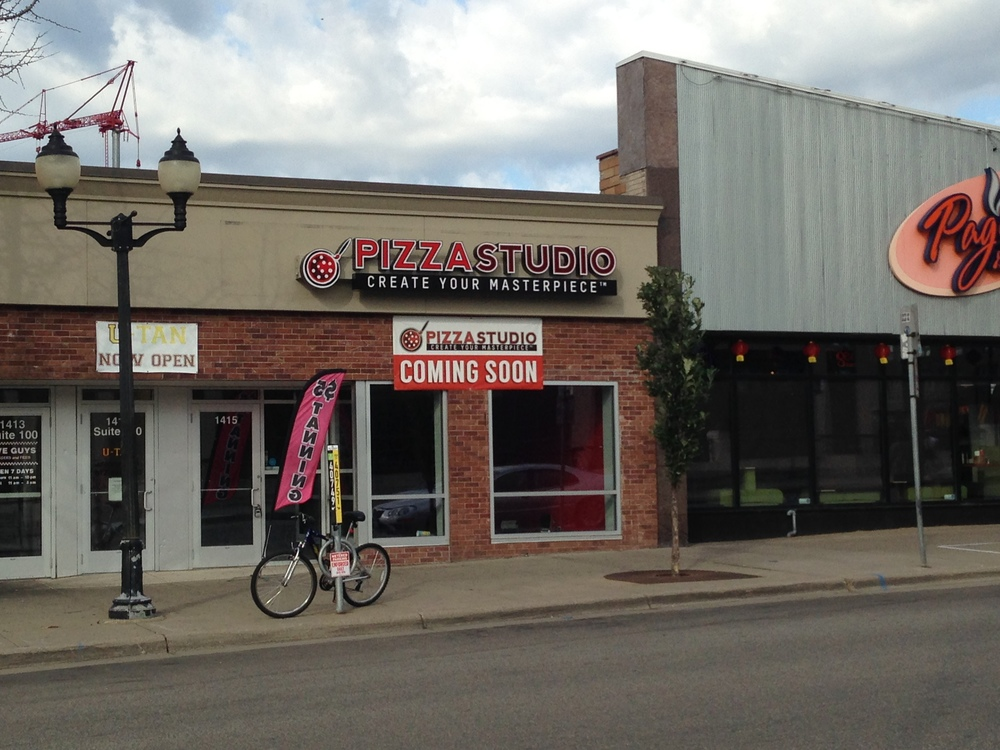 Above:  Pizza Studio location under construction on 4th Street SE in Dinkytown.