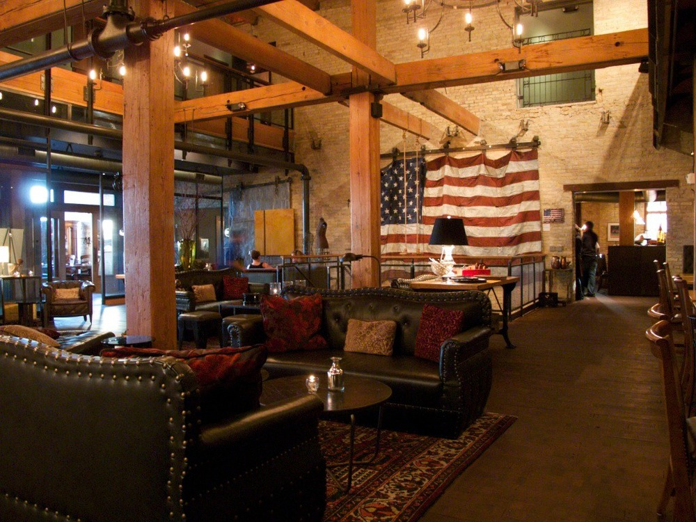 Above:  Interior lobby within Iron Horse Hotel