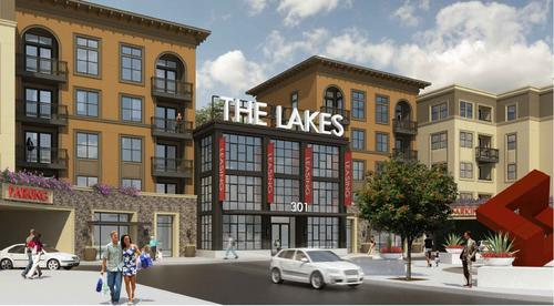 "Above:  ""The Lakes at West Covina"" is a 450 unit apartment project with 17,000 square feet of commercial space on the ground floor that is being developed by Lennar Multifamily Communities."