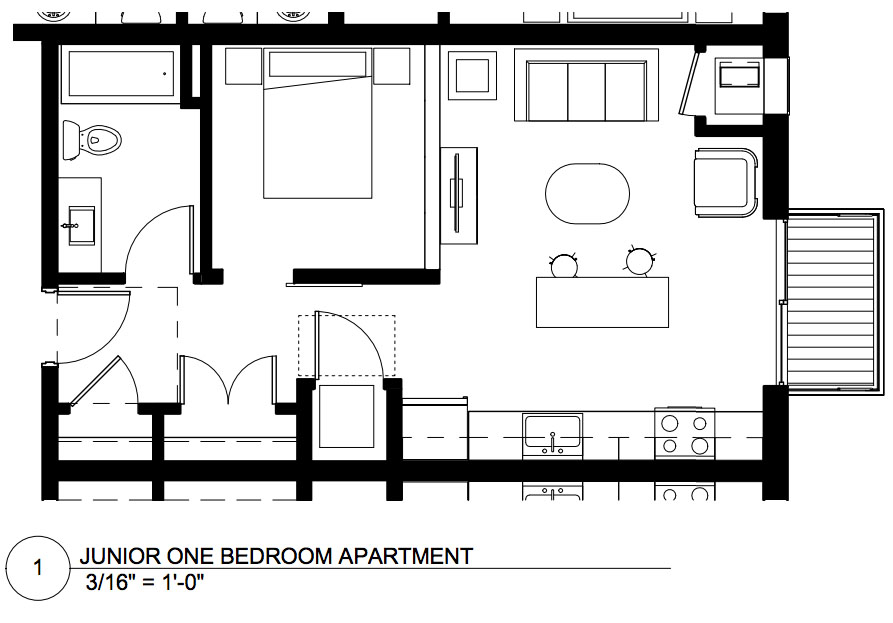Floor plan of the 1 Bedroom unit  |  CPM