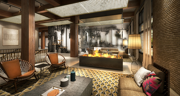 An interior rendering of the lobby area  |  Canopy by Hilton