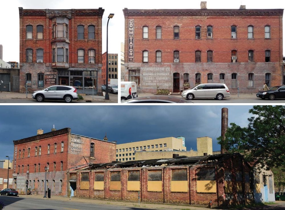 The current state of the buildings that will be restored, the Roe Wolfe building is not pictured.