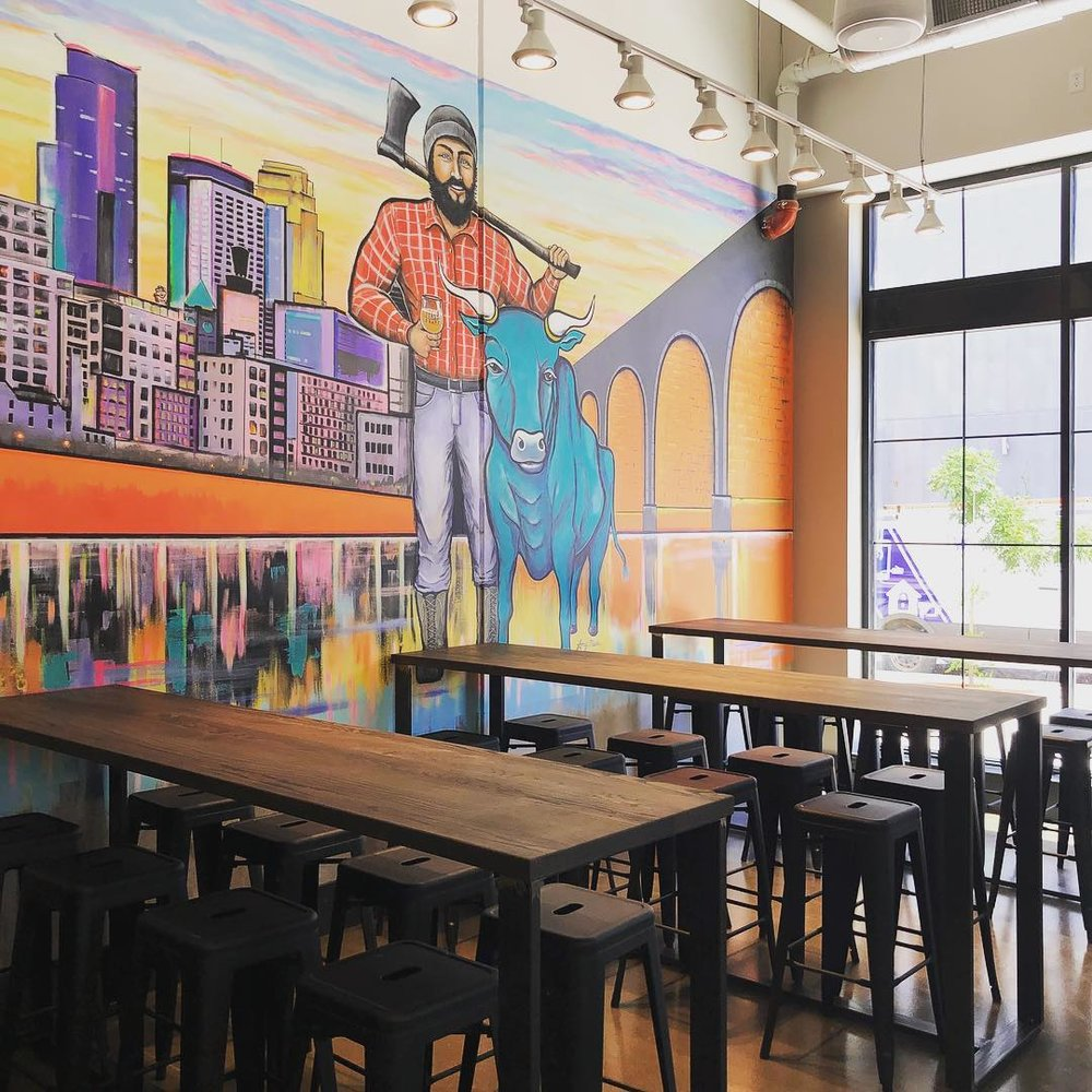The interior of First Draft Taproom + Kitchen in Minneapolis |  Image: First Draft | Mural by Amy Marie Art