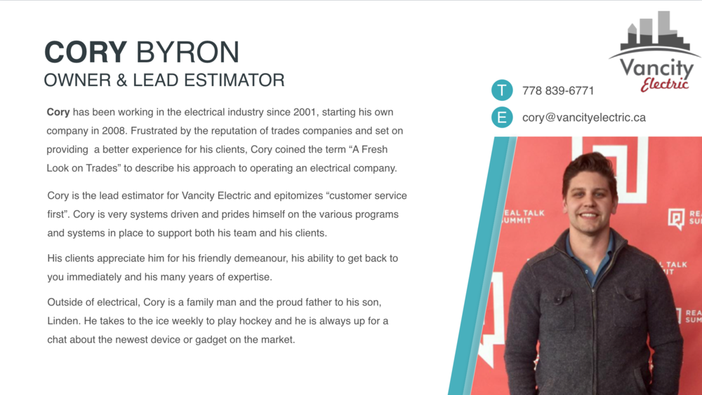 GET TO KNOW CORY BYRON, VANCITY ELECTRIC