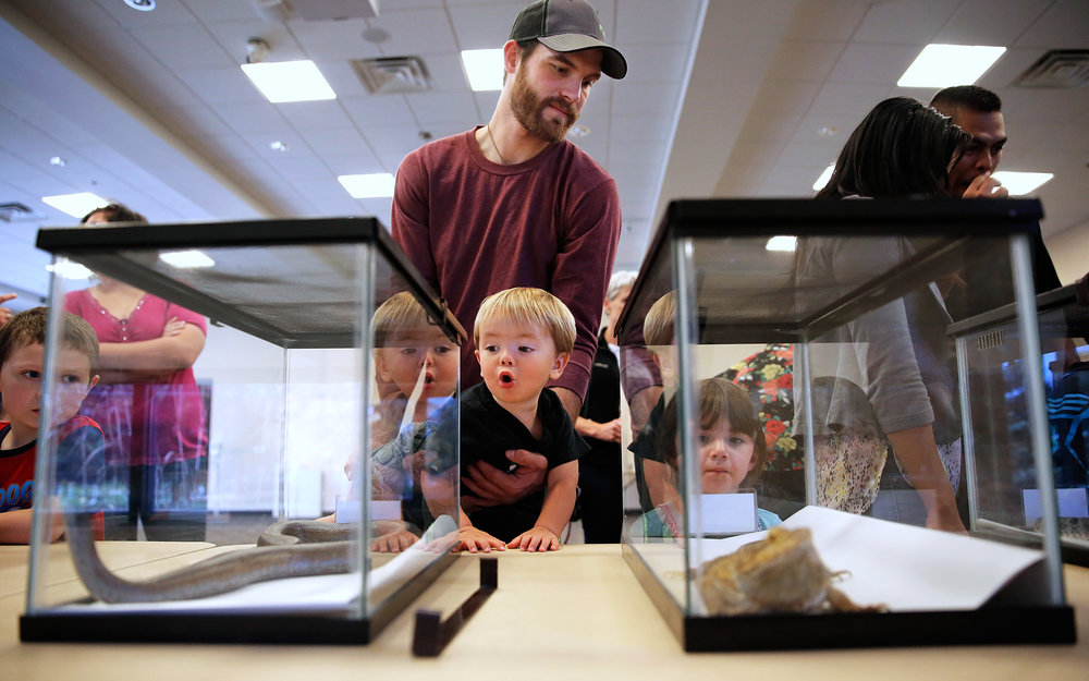 James Larsen holds his nephew Zach Barry, 2, as they look at reptiles on display during the Creepy Crawly Day on Saturday, Oct. 29, 2016, at the College of Southern Idaho Herrett Center in Twin Falls, Idaho.