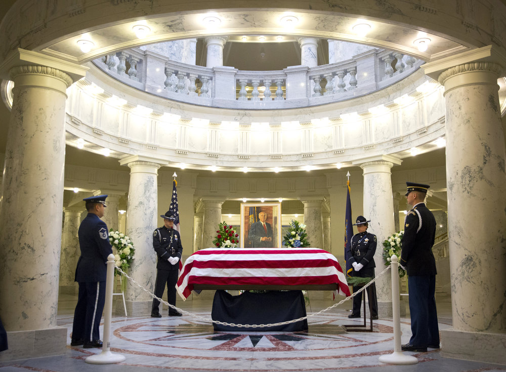 The Joint Honor Guard stands watch over the casket of Cecil Andrus on Thursday, Aug. 31, 2017, at the State Capitol Building in Boise. Andrus served twice as the Governor of Idaho and twice as a member of the Idaho State Senate, as well as serving as Secretary of the Interior from 1977-1981.
