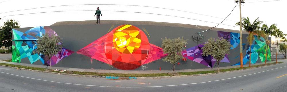 Rye QUARTZ - 'Dream Weaving' - Art Basel, Miami, 2014 (42 x5m) on NW 2nd Ave, Wynwood, Miami.