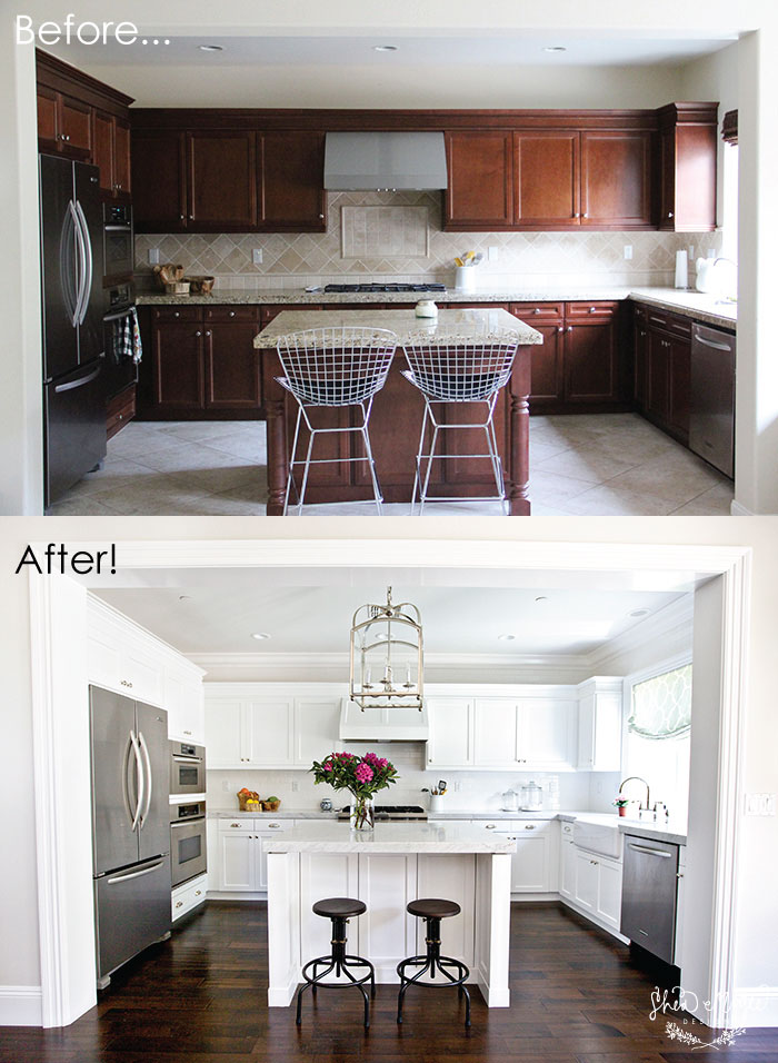 Our kitchen before after studio mcgee for Painting kitchen countertops before and after