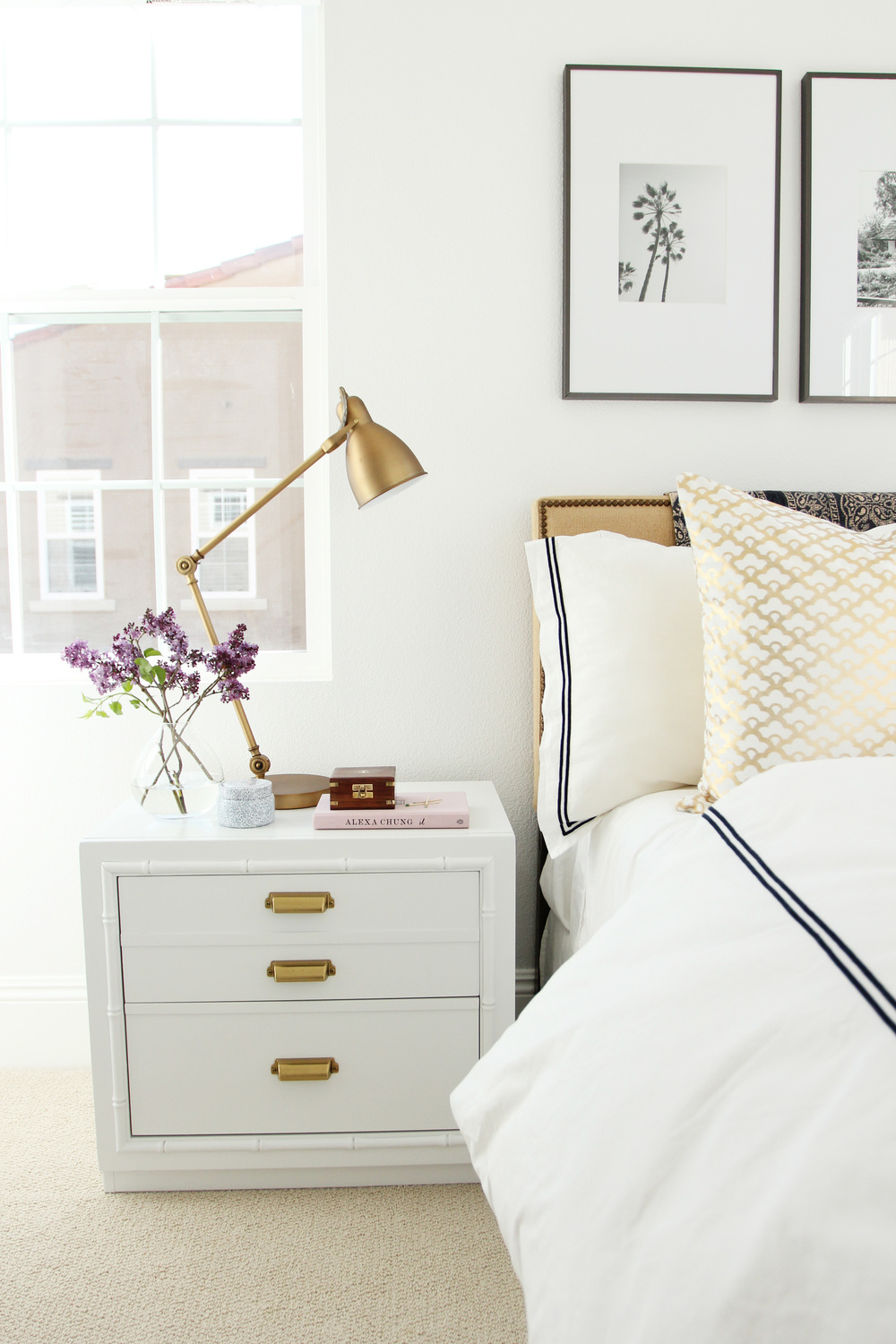 Guest room revamp studio mcgee - White and gold bedroom decor ...
