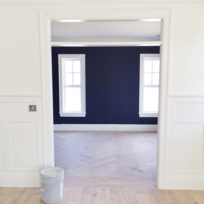 "Navy paint is Benjamin Moore ""Royal Navy"" and the white is Benjamin Moore ""Simply White"""