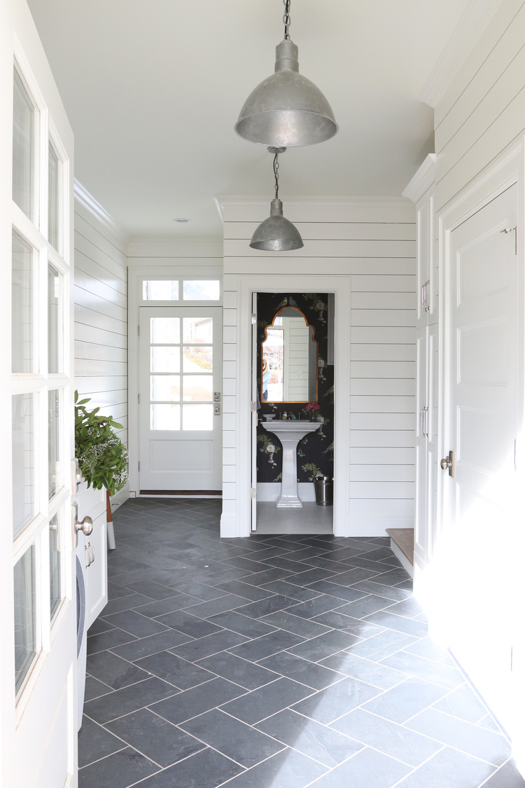 slate herringbone floors and shiplap walls studio mcgee - Slate House Design