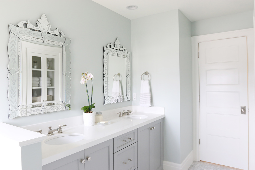 The Midway House Guest Bathroom STUDIO MCGEE - 2 carrara marble hexagon floors