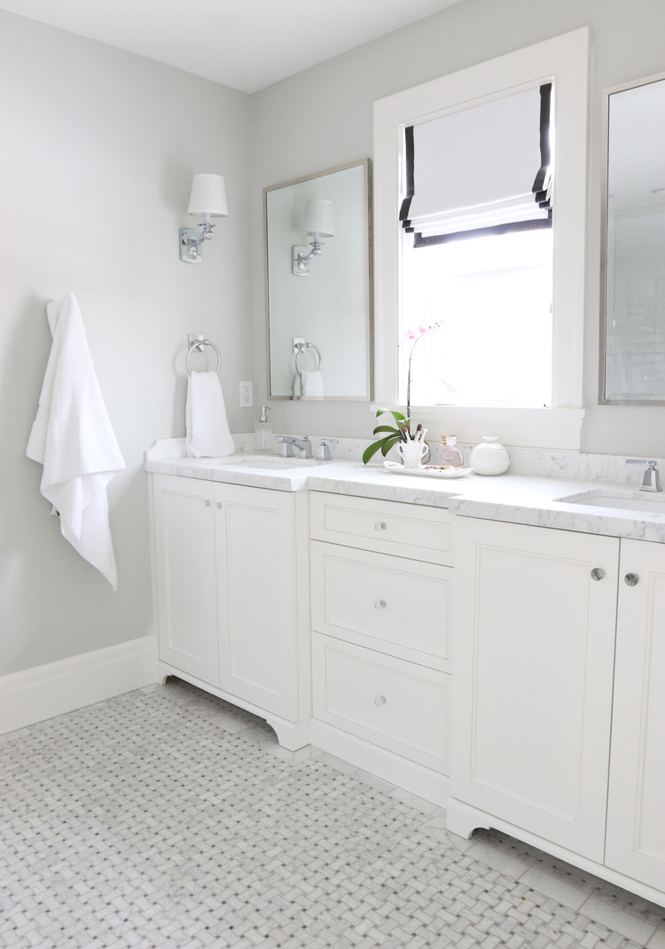 The midway house master bathroom studio mcgee gray marble basketweave floors studio mcgee dailygadgetfo Choice Image