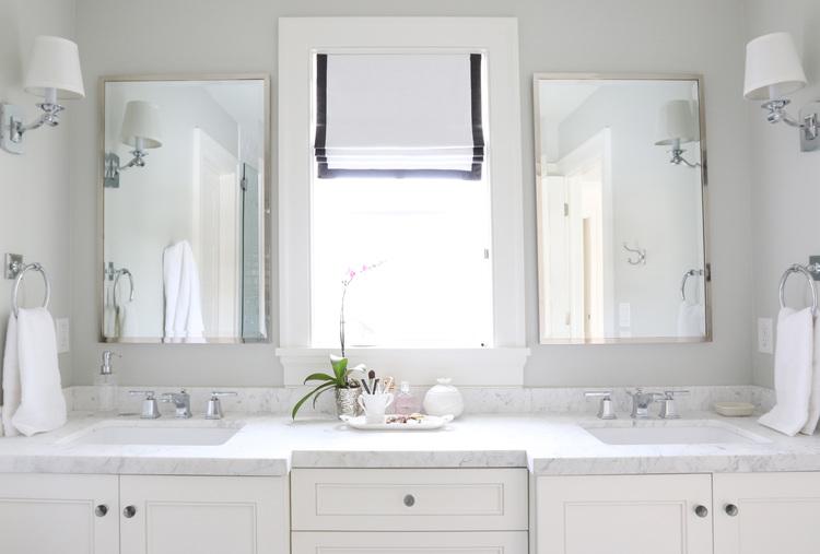 Roman shade with gray trim    Studio McGee. The Midway House  Master Bathroom   STUDIO MCGEE