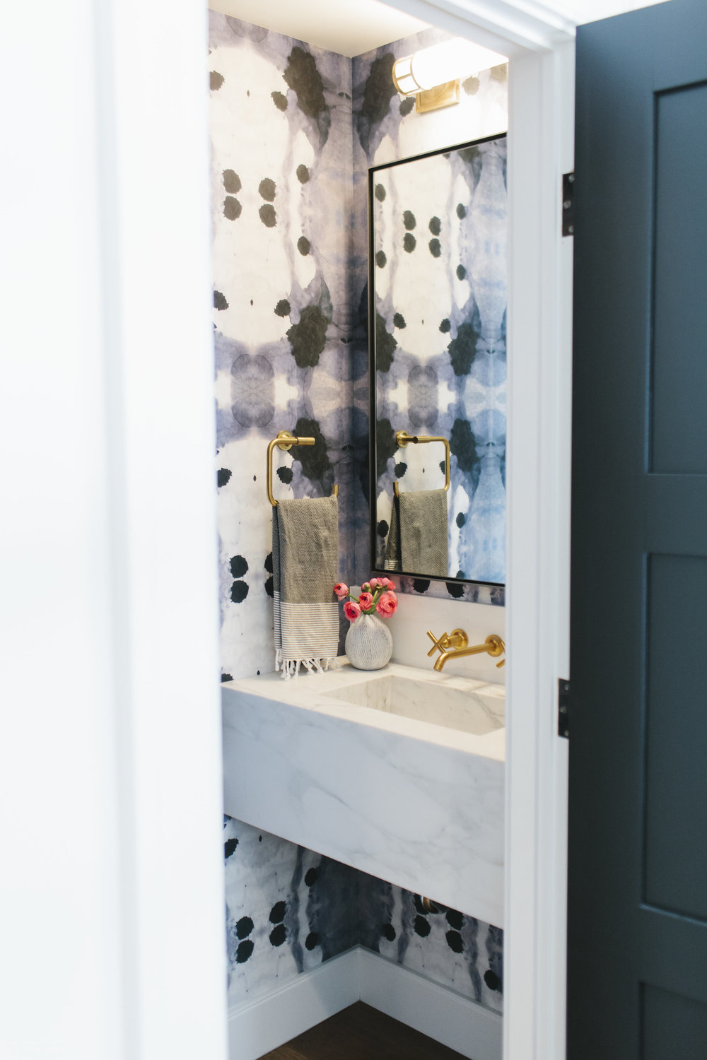 Bold wallpaper in the powder room || Studio McGee
