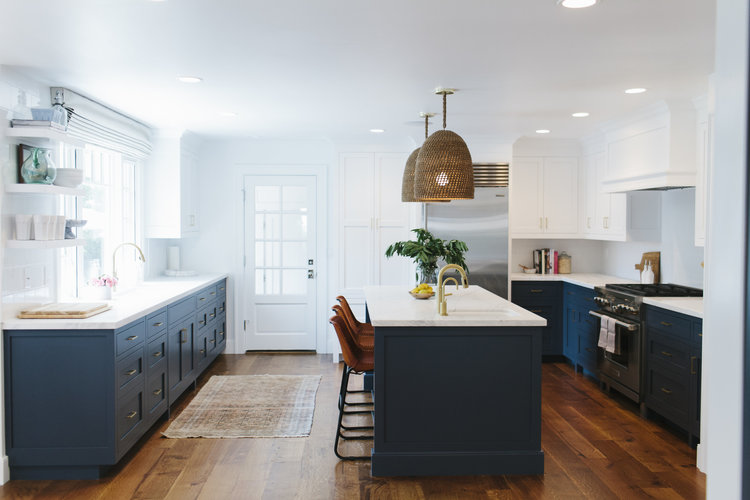 navy white brass kitchen studio mcgee - Remodel Kitchen Cabinets