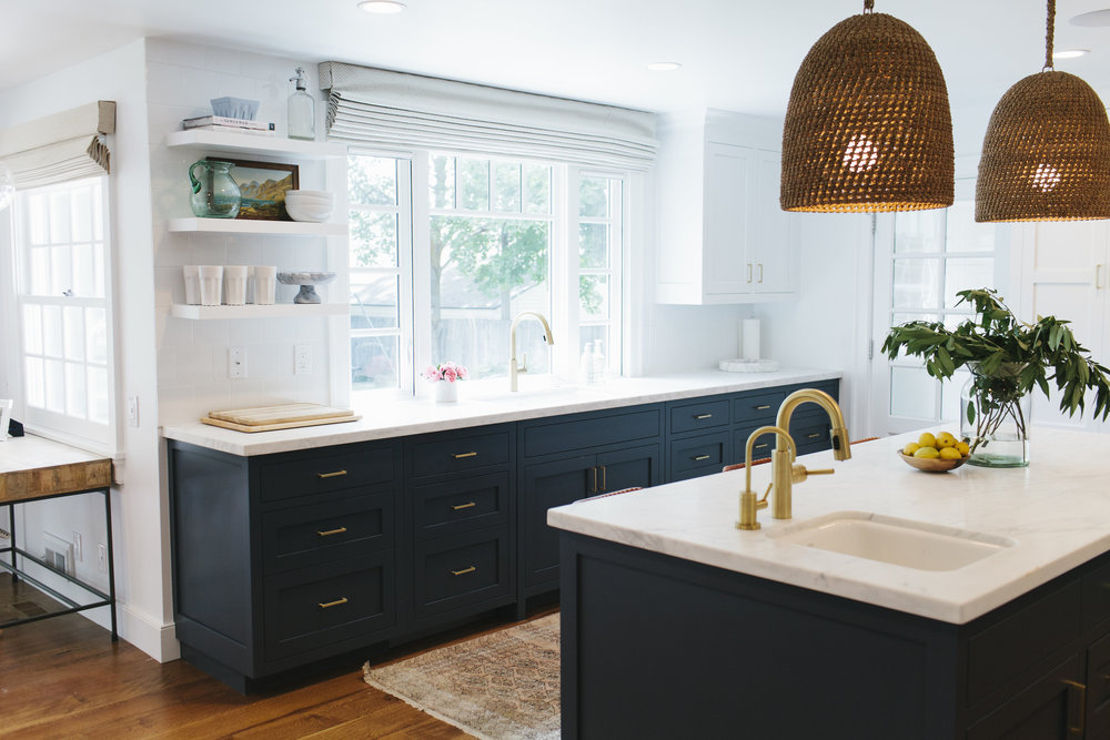 navy brass with open shelves by kitchen sink studio mcgee. Interior Design Ideas. Home Design Ideas