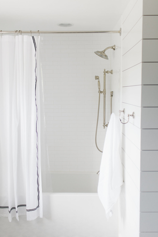Skinny subway tile in shower || Studio McGee