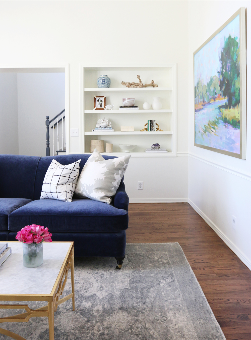 Living room with built-in book shelves