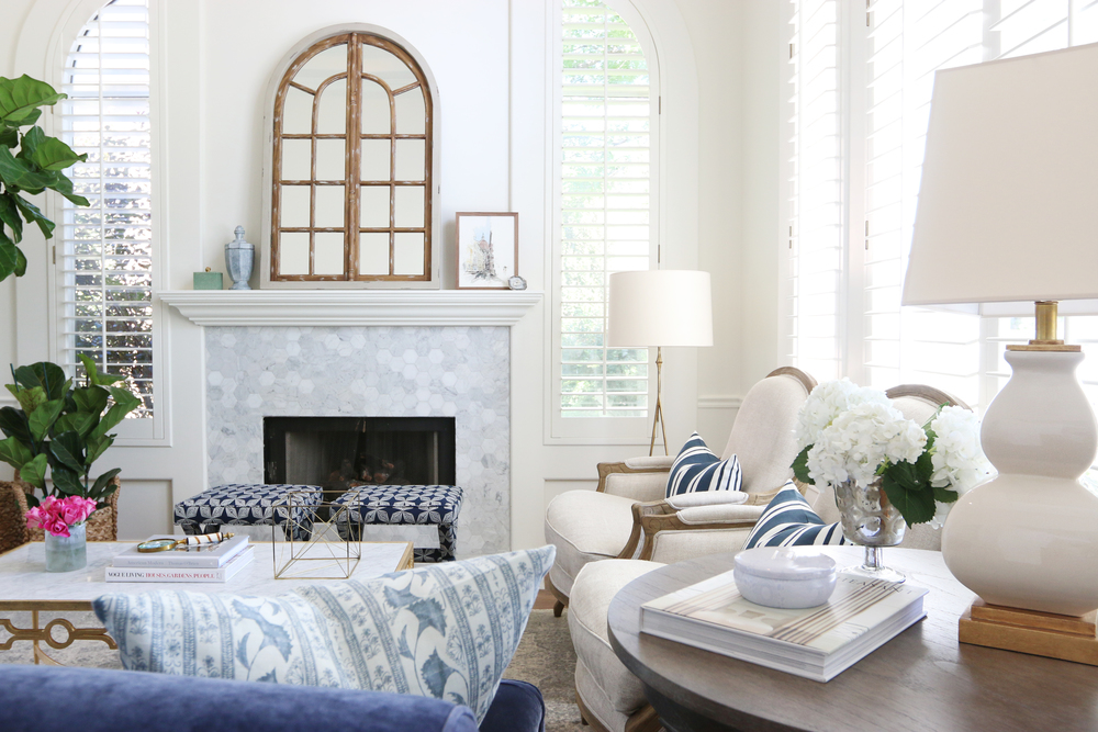 Living room interior design with blue and white colors