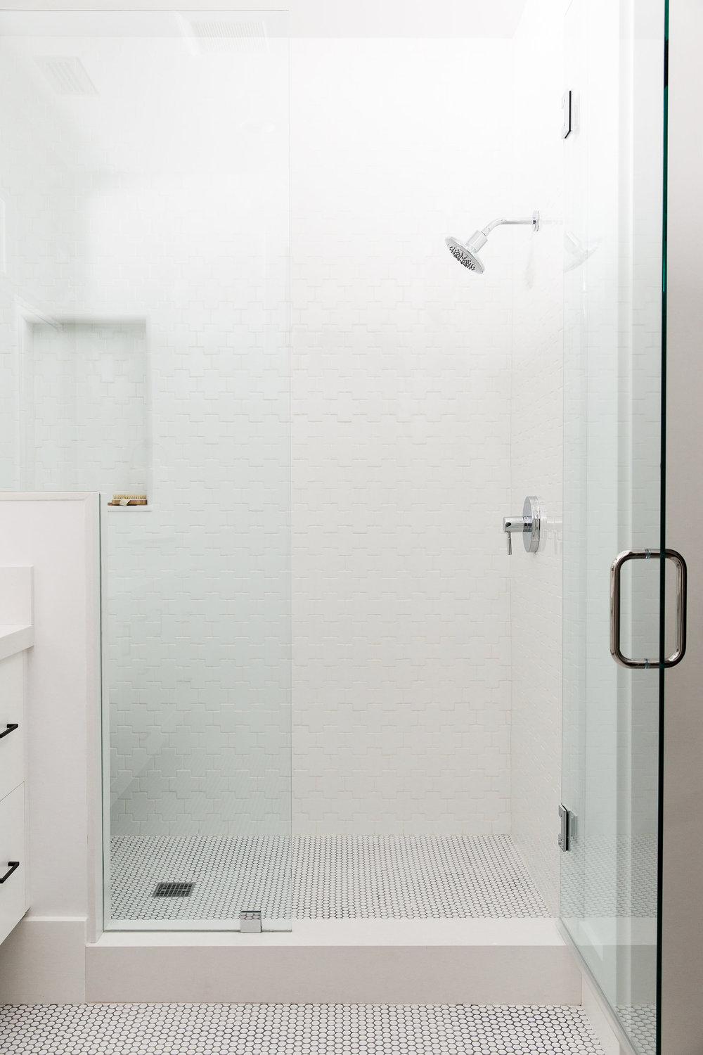 Swiss Cross Tile Shower || Studio McGee