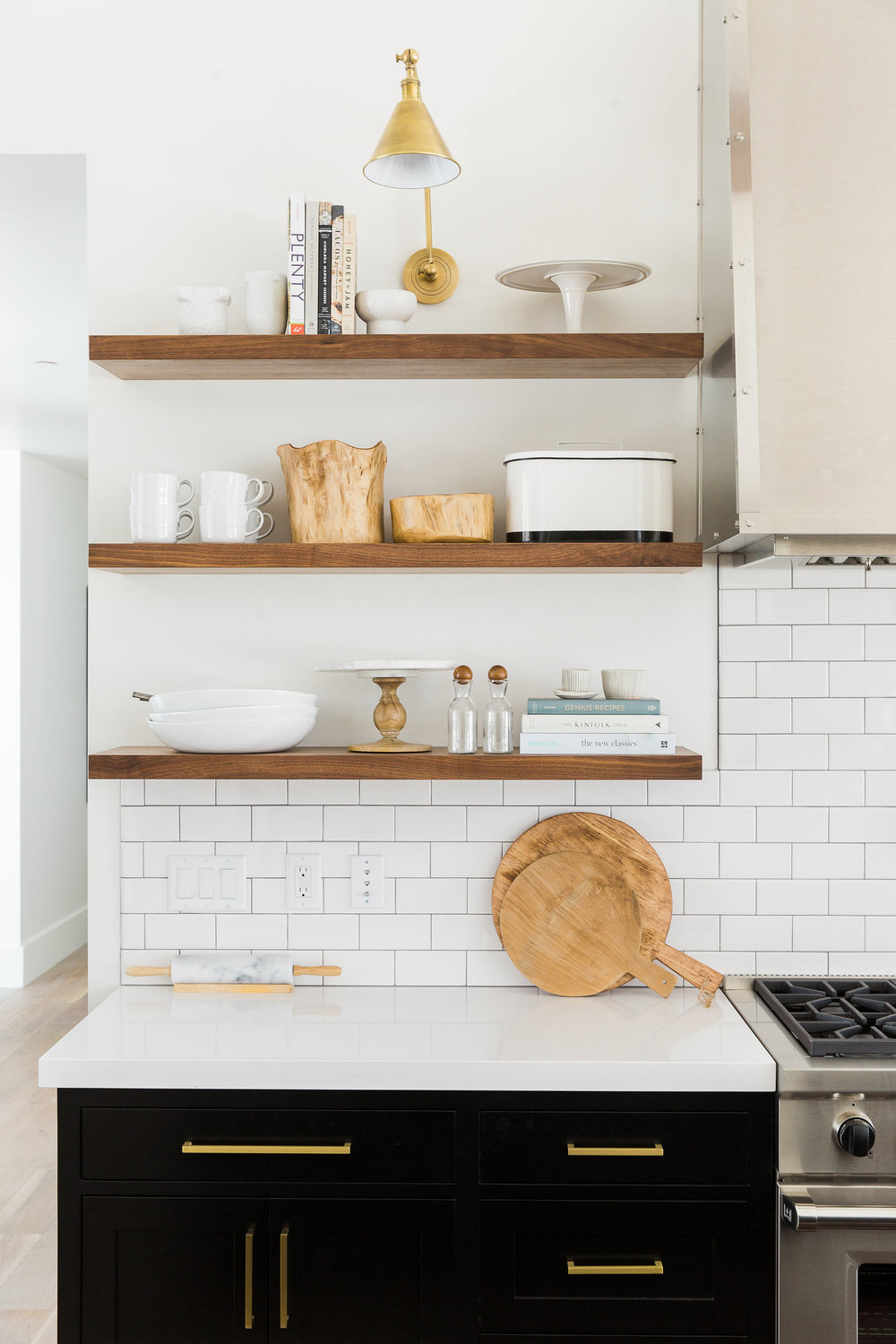Built in wooden shelves in kitchen