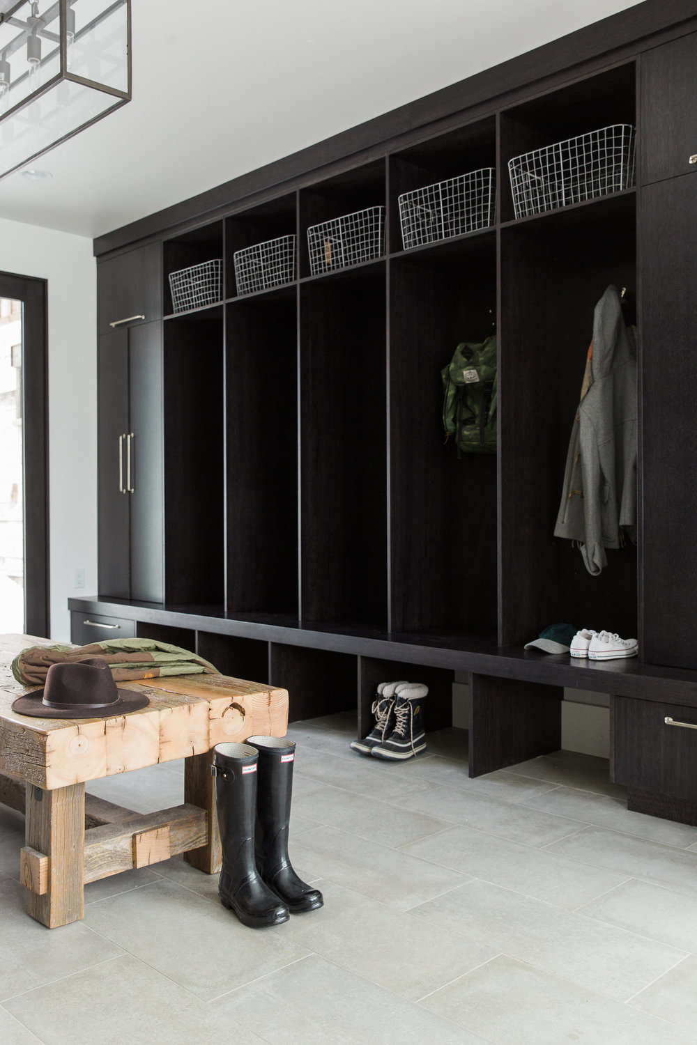 Custom built mudroom cubbies