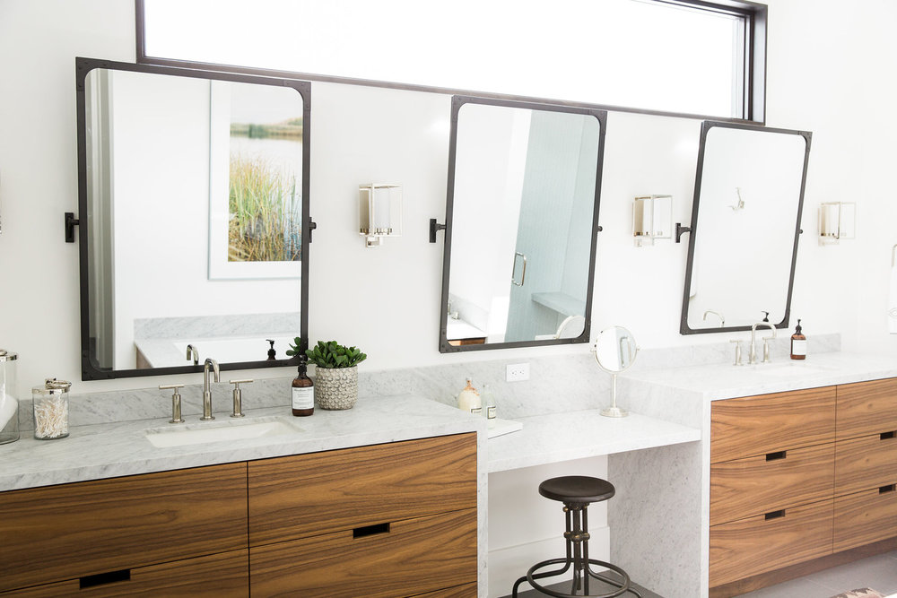 Bathroom vanity with three mirrors