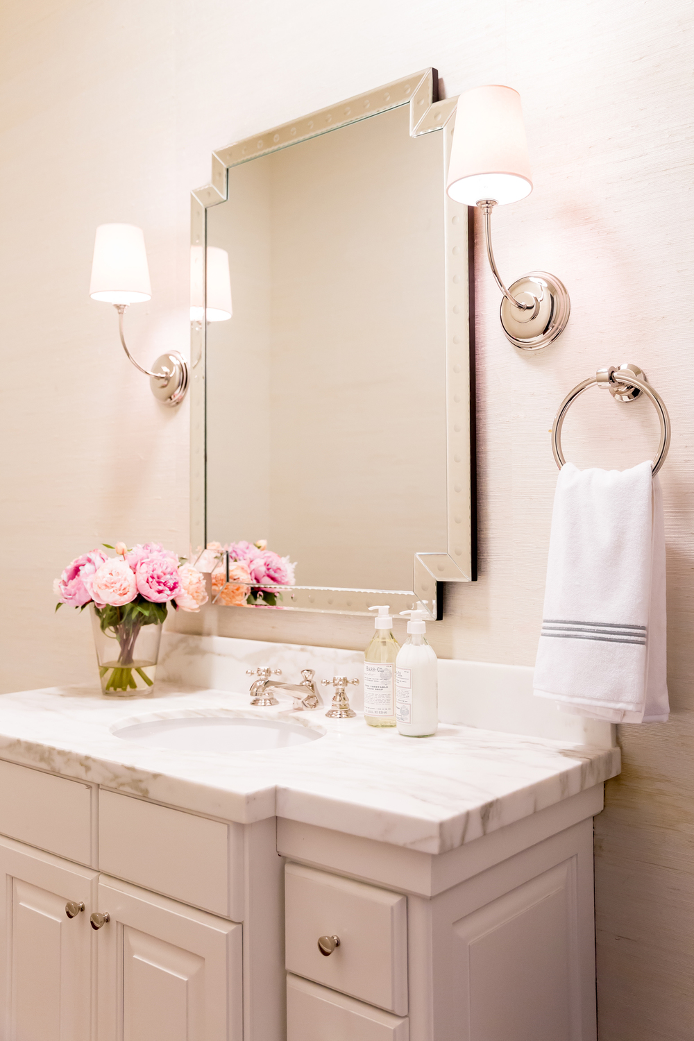 White bathroom vanity with mirror