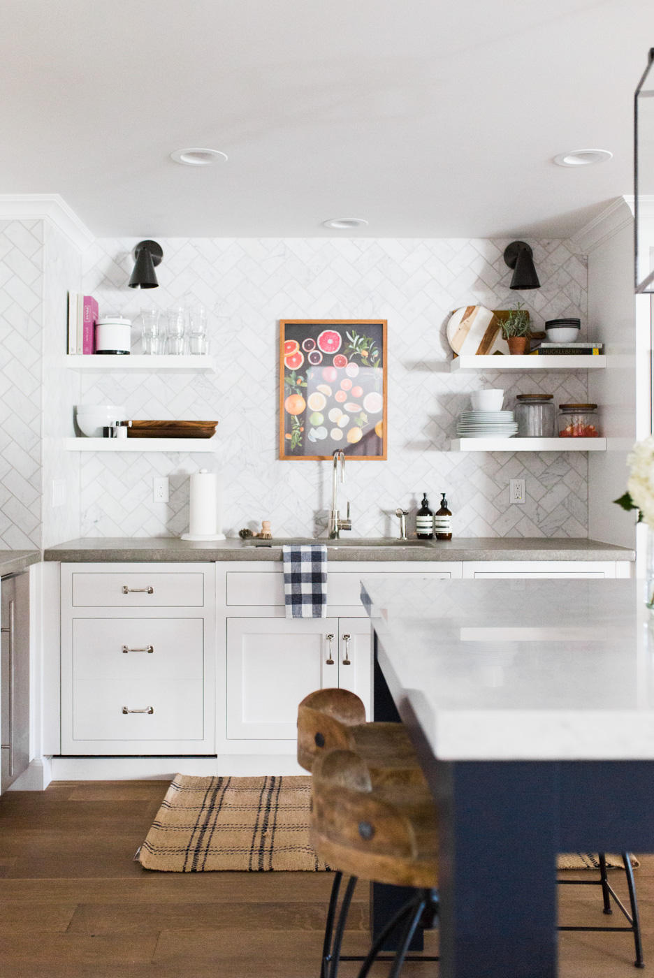 Floating Shelves, Concrete Counters, and Marble Herringbone Backsplash || Studio McGee