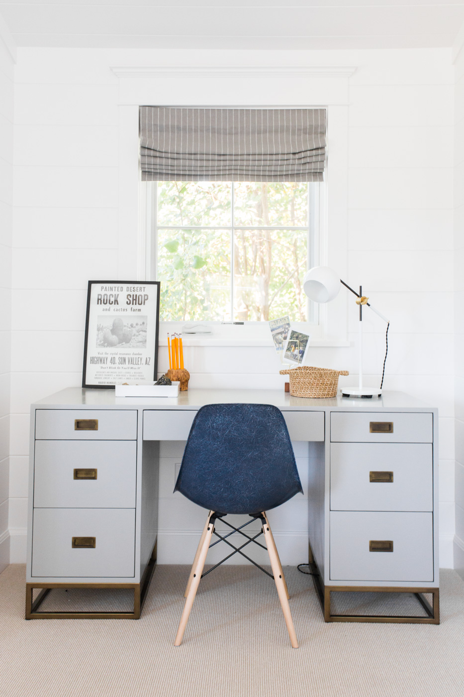 Blue chair in front home office desk
