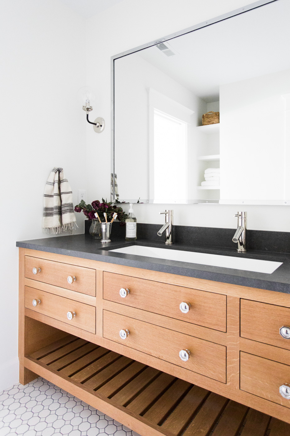 Light wood bathroom vanity