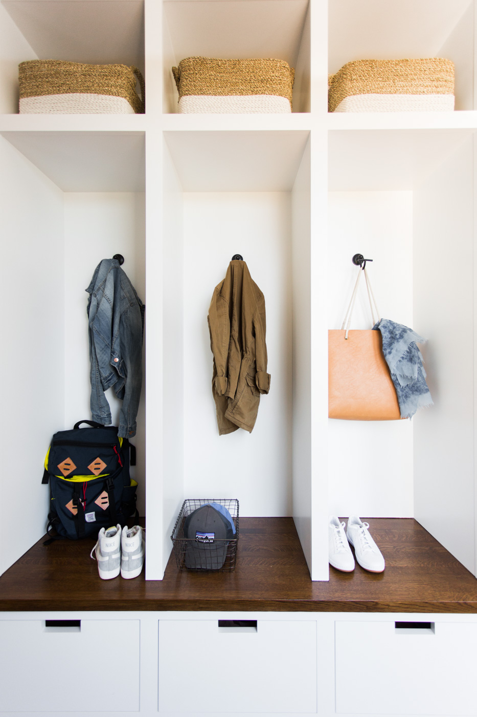 Details of built in cubbies in mudroom