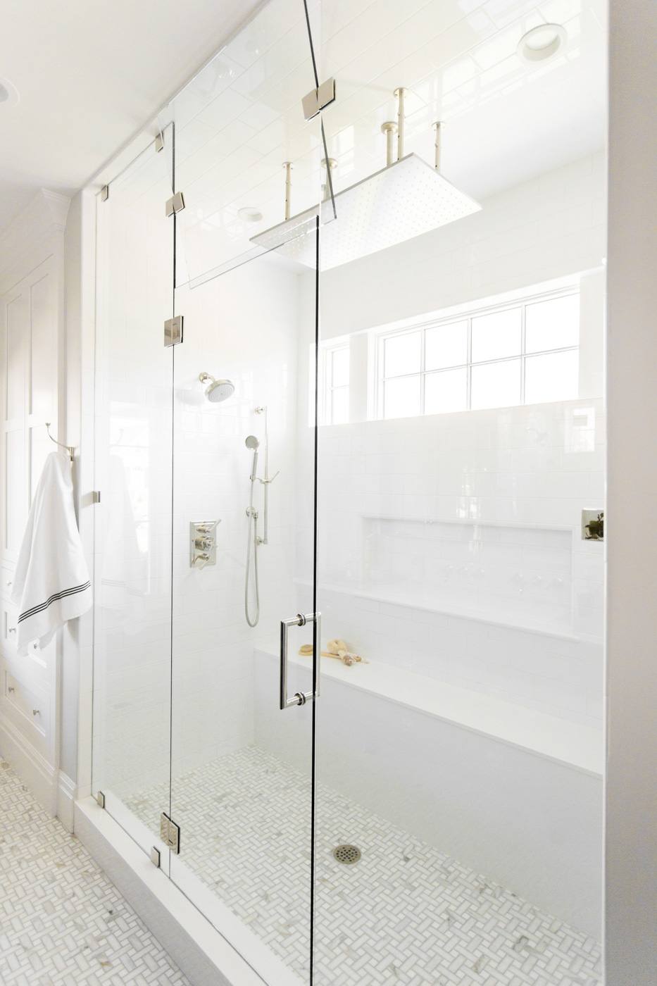 Large glass doors on bathroom shower