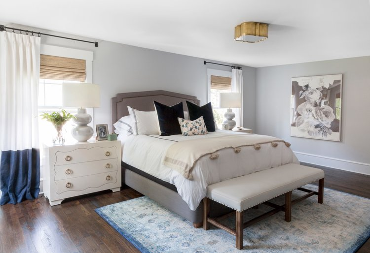 Interior Master Bed haddonfield project master bed bath studio mcgee the bedroom is pretty without being overly feminine neutral tones deep blues and industrial curtain rods help balance out flor