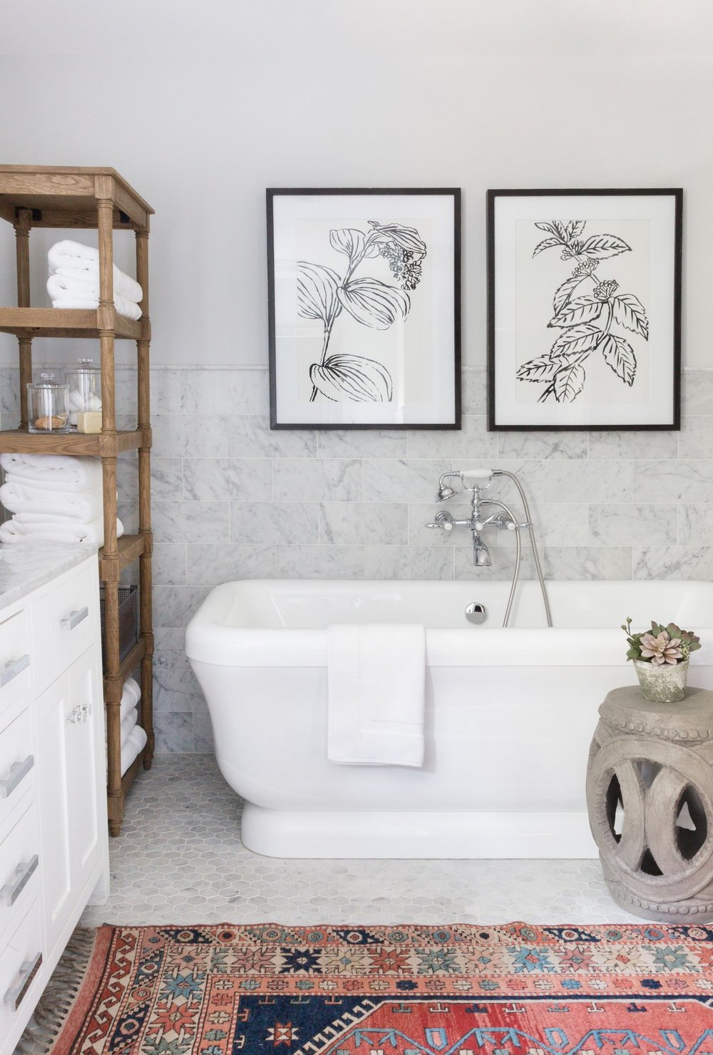 White porcelain tub in master bathroom