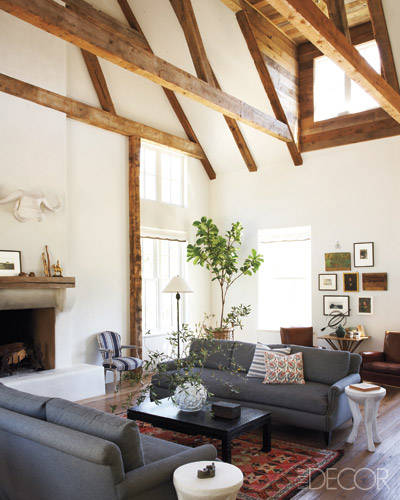 Trend for 2017 natural wood studio mcgee for Vaulted ceiling with exposed beams