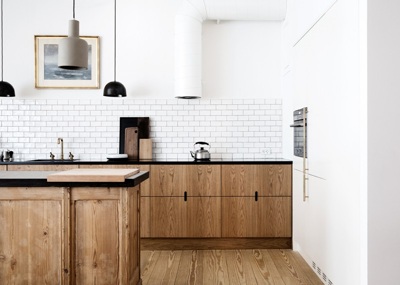 Wood Cabinets Kitchen Subway Tile Notched Pulls
