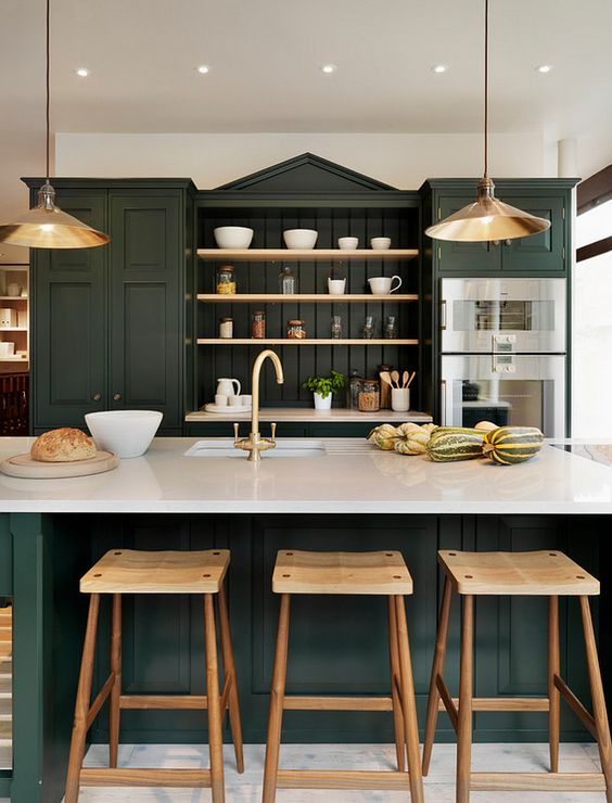 Trend for 2017 dark green studio mcgee for 22 deep kitchen cabinets