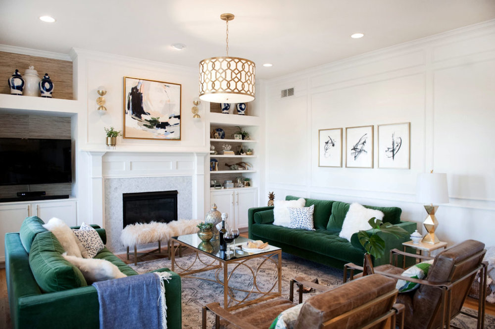 green couch living room. Design by Mallory from R  Simple Life Trend for 2017 Dark Green STUDIO MCGEE