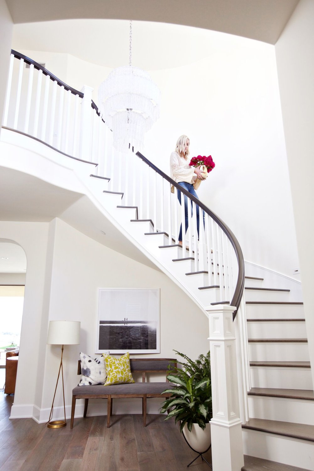 White stairwell in the SC Modern Coastal home