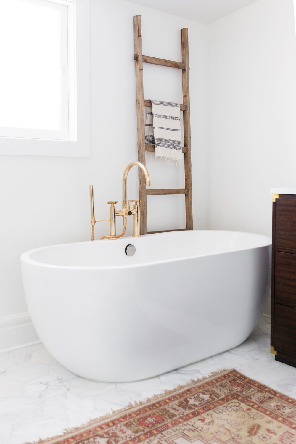 Full view of statement bathtub in bathroom