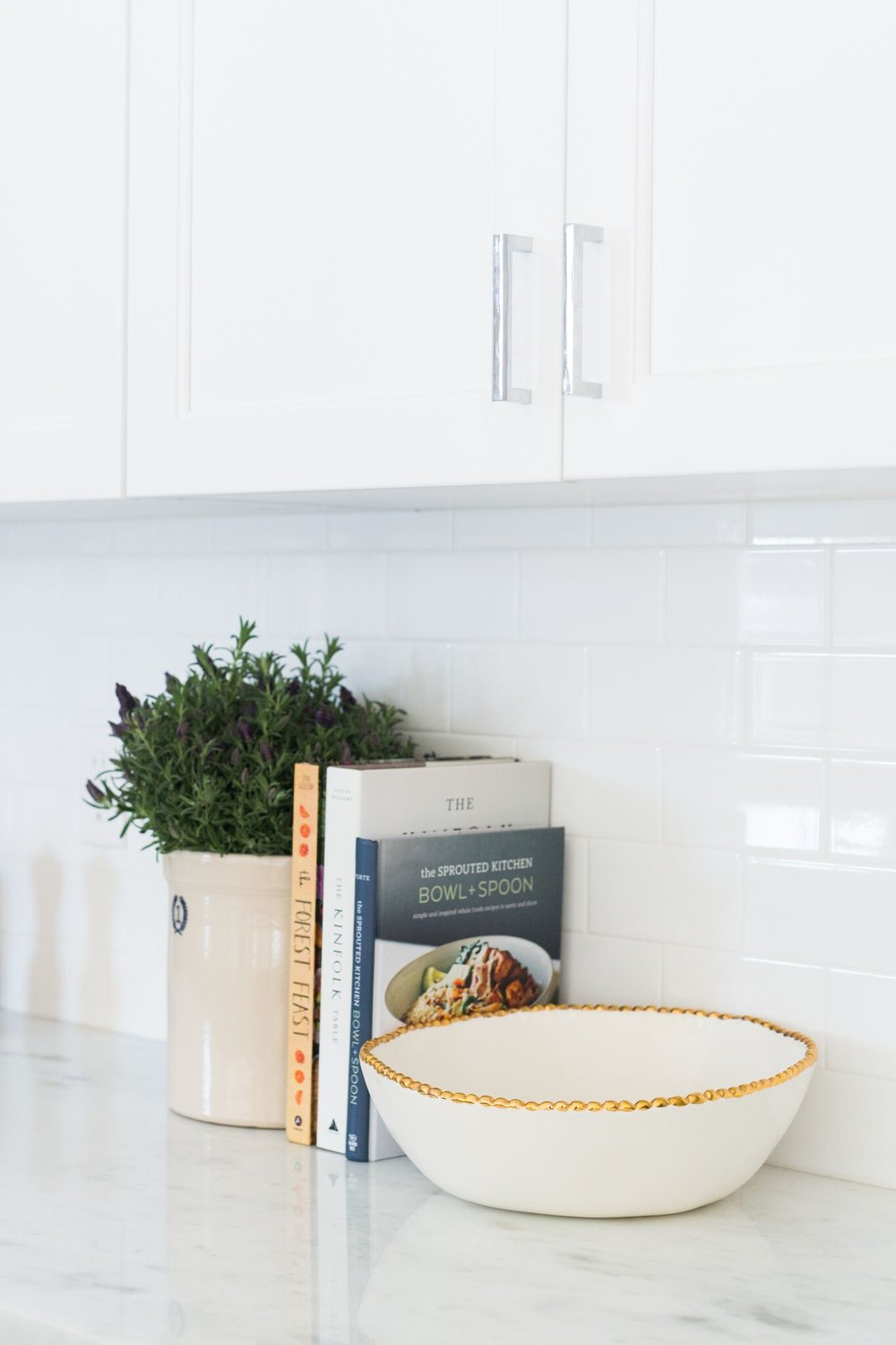 Books and plants on kitchen counter tops