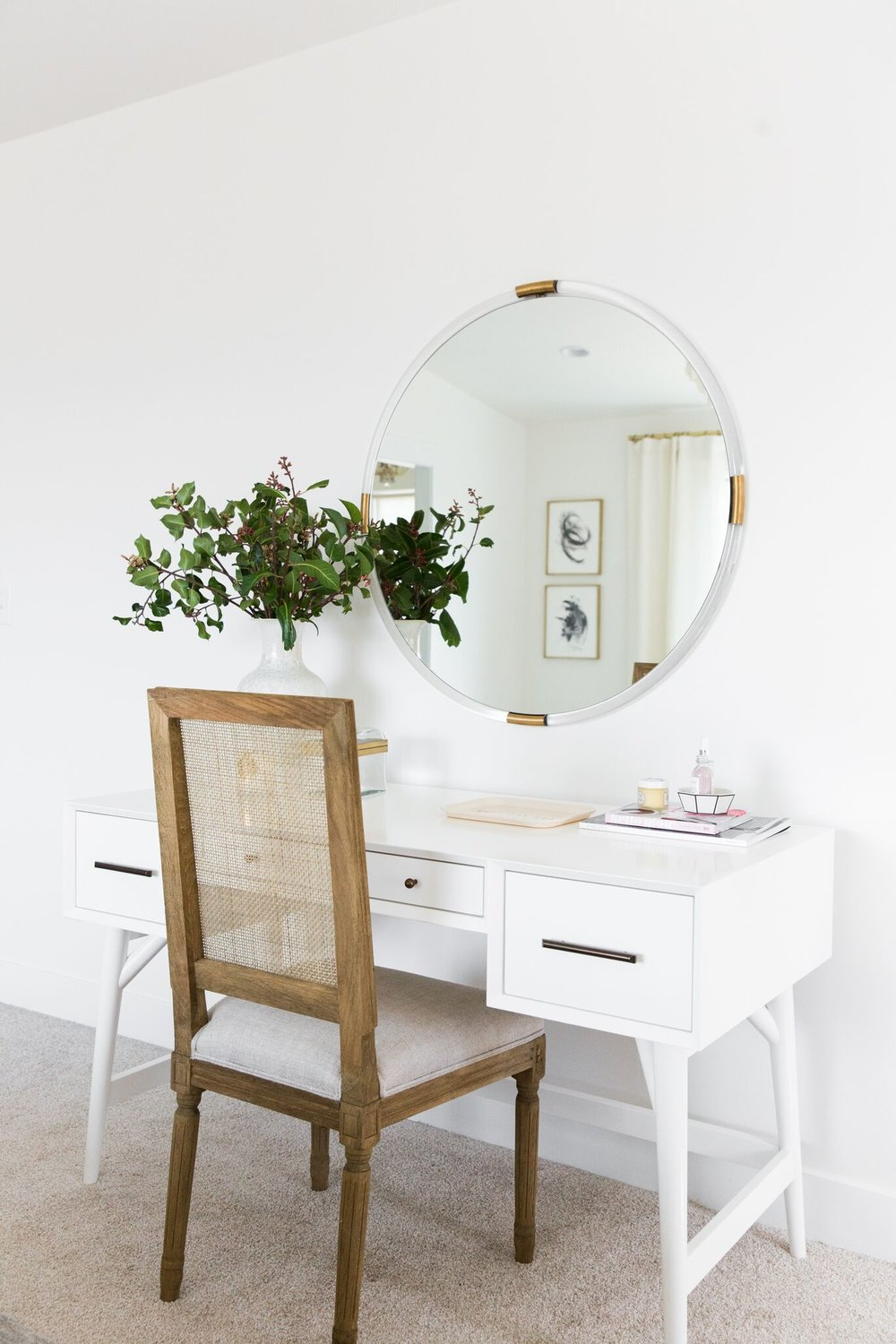 Simple wooden chair with white vanity