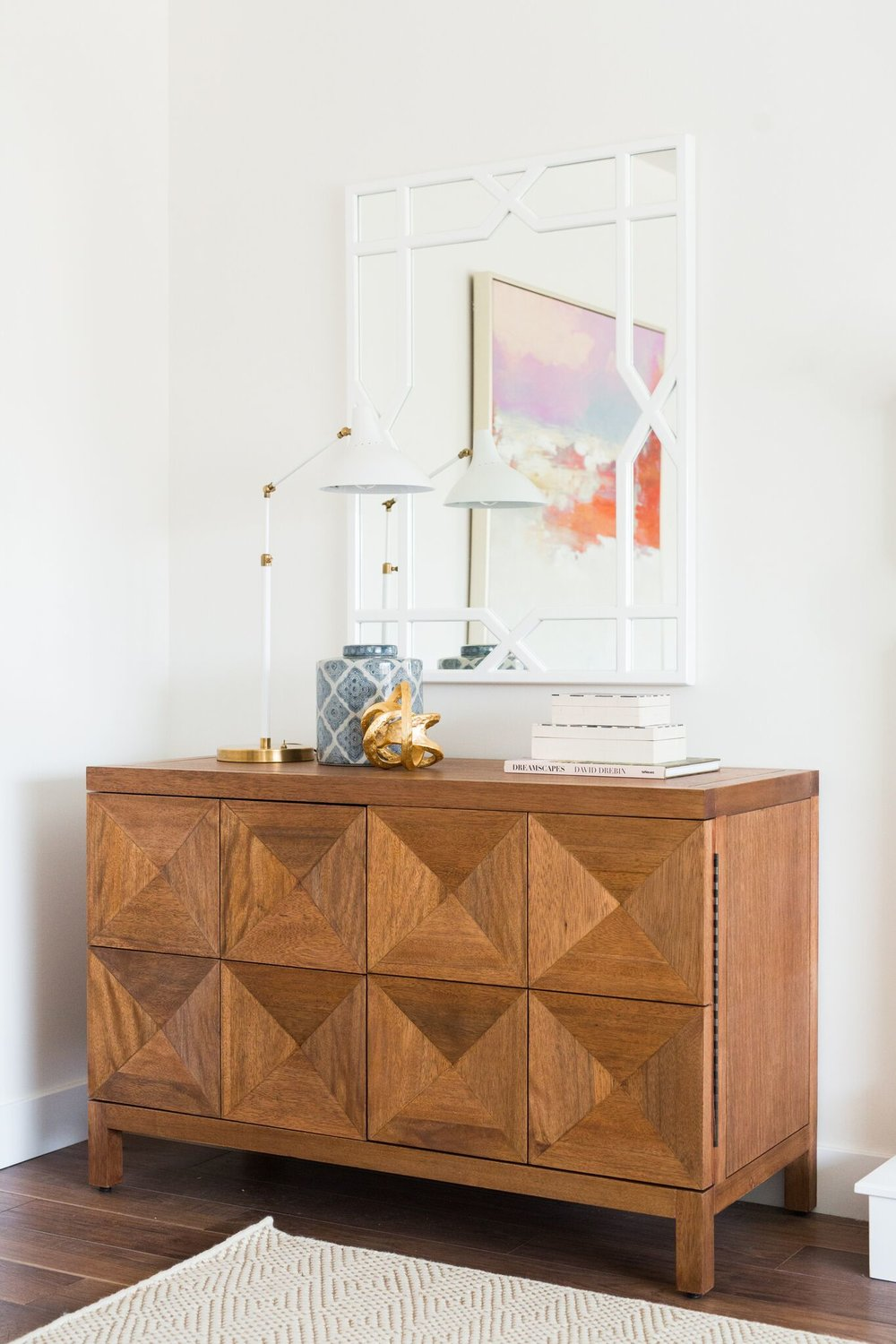Drawer details on wooden hutch in living room