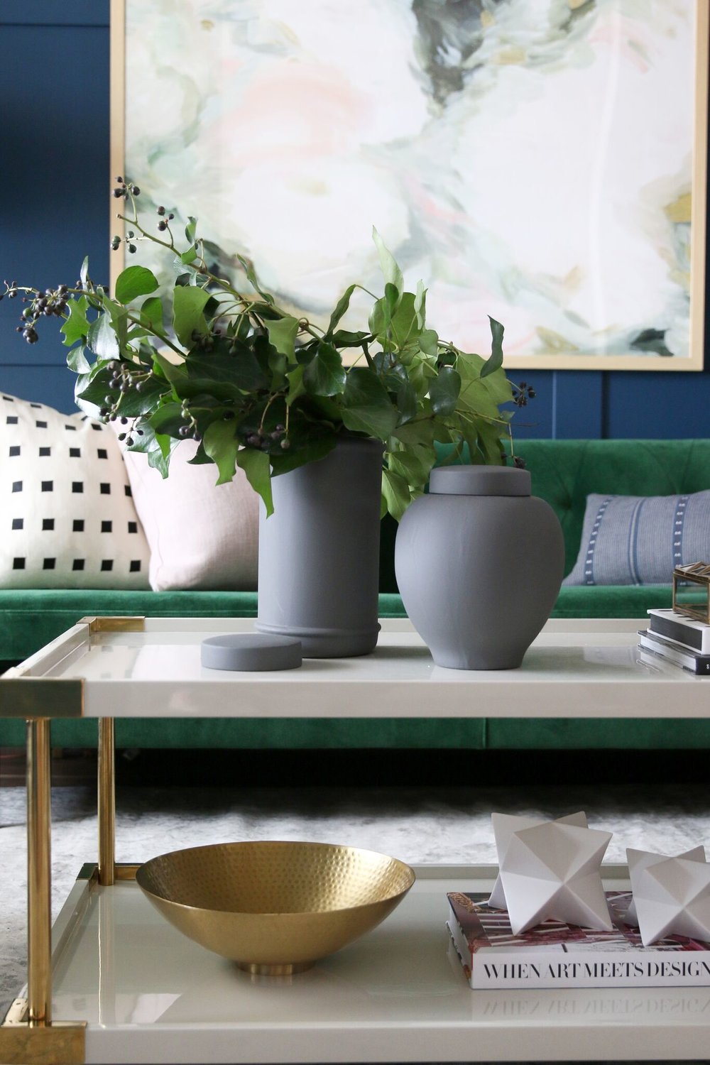 Vase and plants atop the coffee table