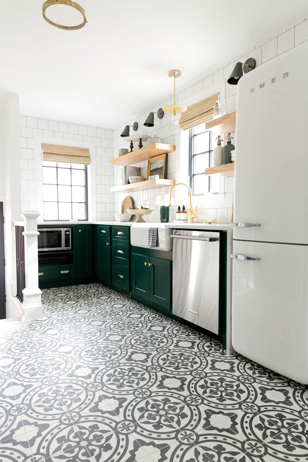 Black and white tiled floor of tudor kitchen