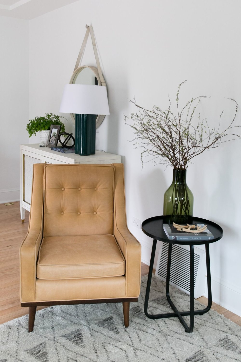 Statement Chair With Black Metal Side Table