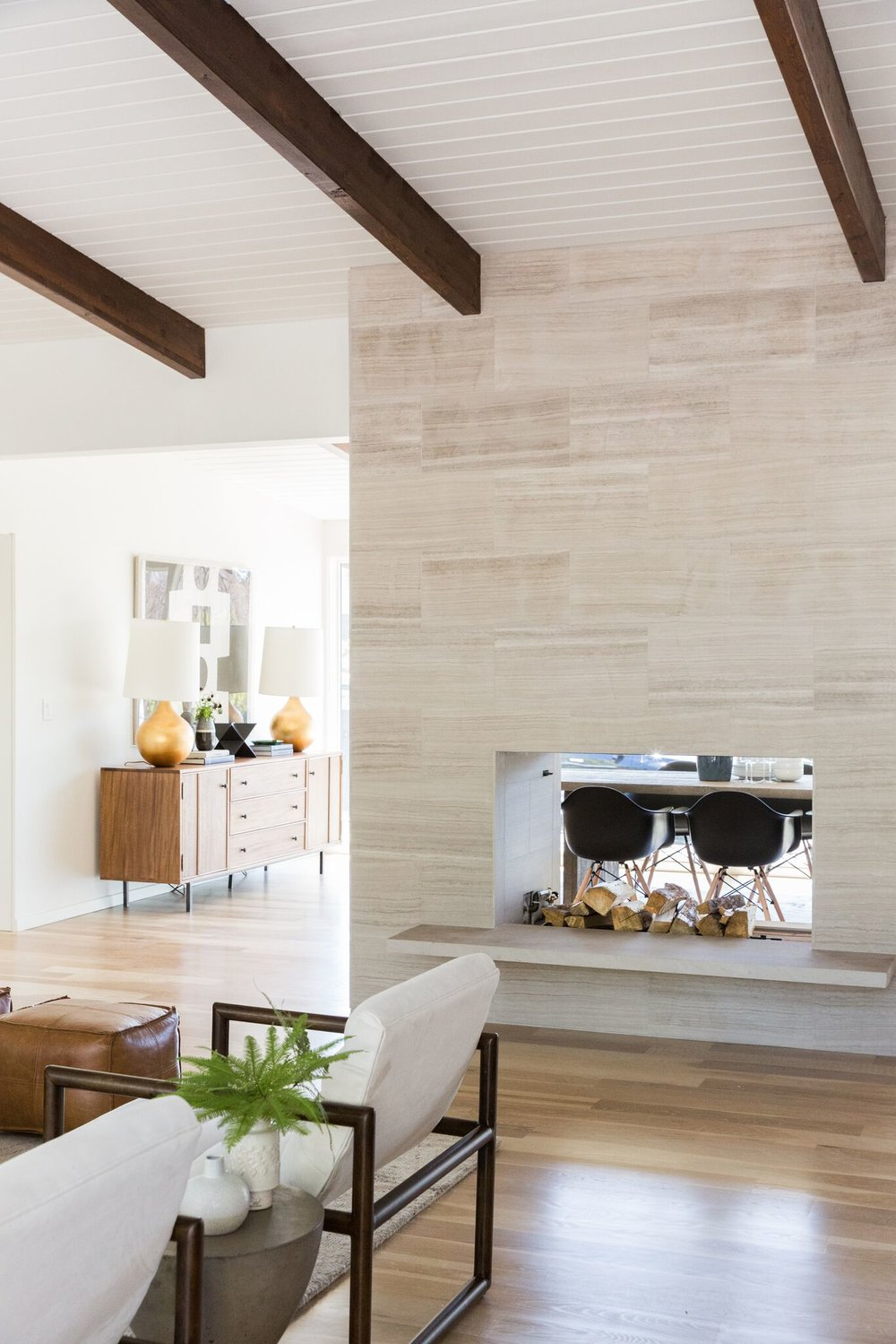 Mid-Century Modern Living Room with Stone Fireplace