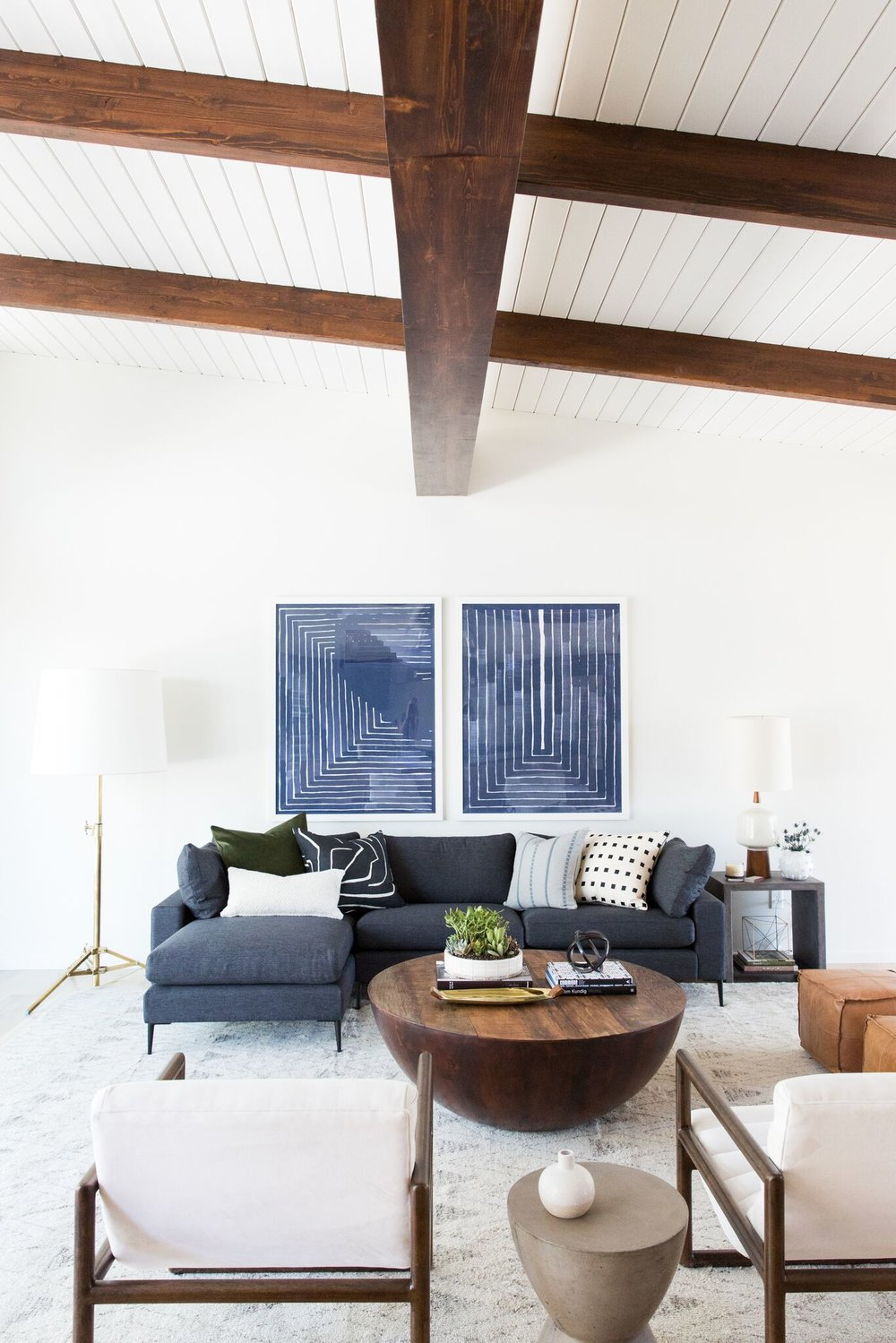 Mid Century Modern Living Room With Exposed Wood Ceiling
